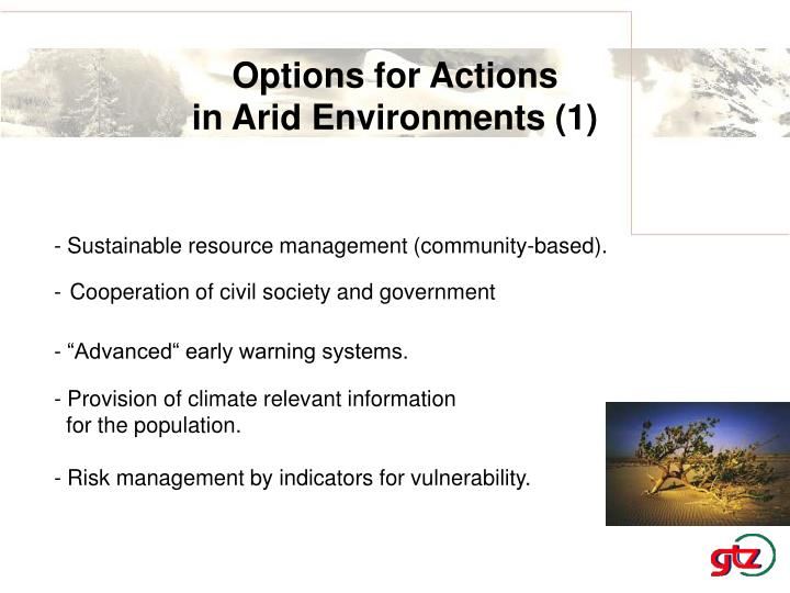 Options for Actions