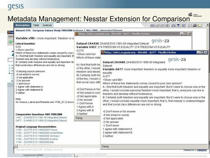 Metadata Management: Nesstar Extension for Comparison