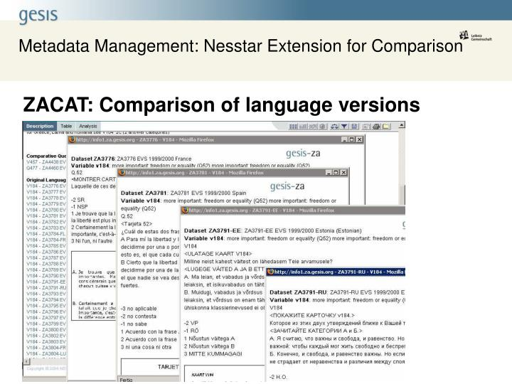 Metadata Management: Nesstar Extension for Comparison