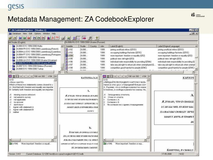 Metadata Management: ZA CodebookExplorer
