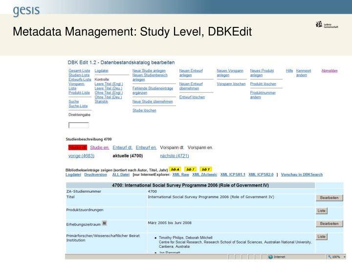 Metadata Management: Study Level, DBKEdit