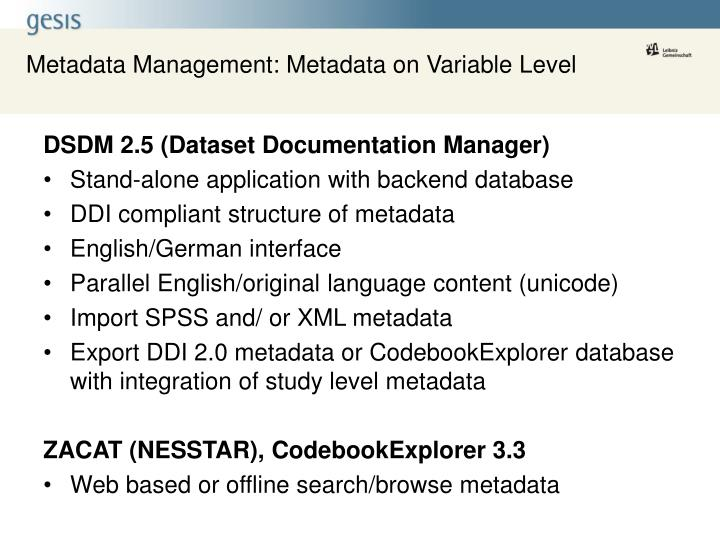 Metadata Management: Metadata on Variable Level