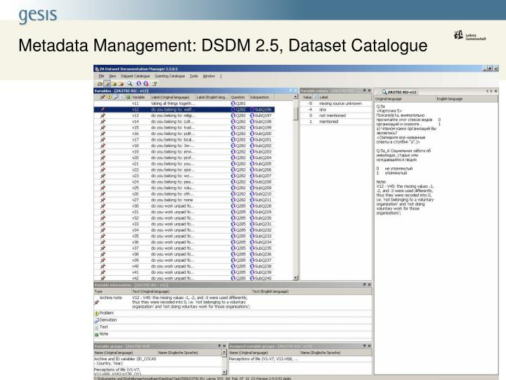 Metadata Management: DSDM 2.5, Dataset Catalogue