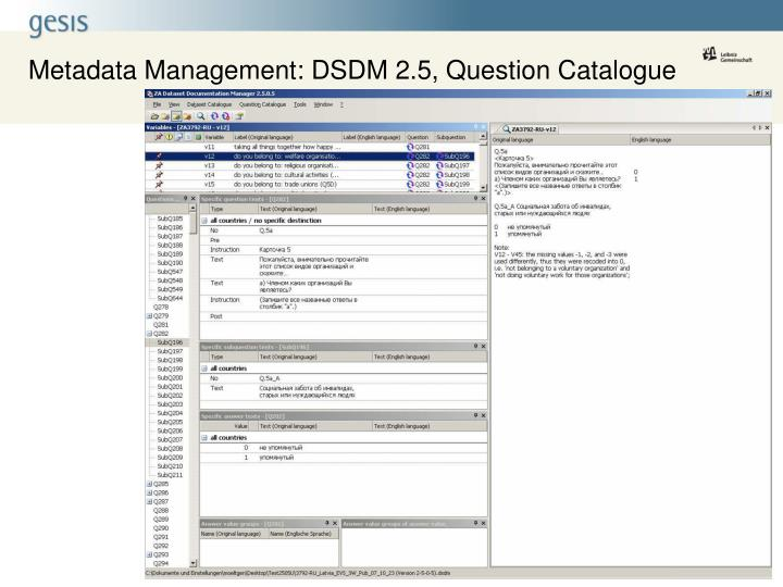 Metadata Management: DSDM 2.5, Question Catalogue