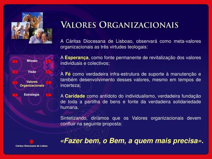 A Cáritas Diocesana de Lisboao, observará como meta-valores organizacionais as três virtudes teologais: