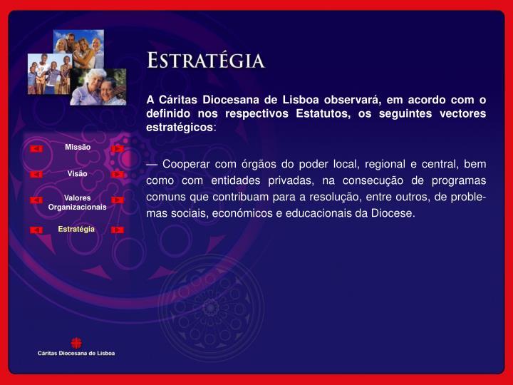 A Cáritas Diocesana de Lisboa observará, em acordo com o definido nos respectivos Estatutos, os seguintes vectores estratégicos