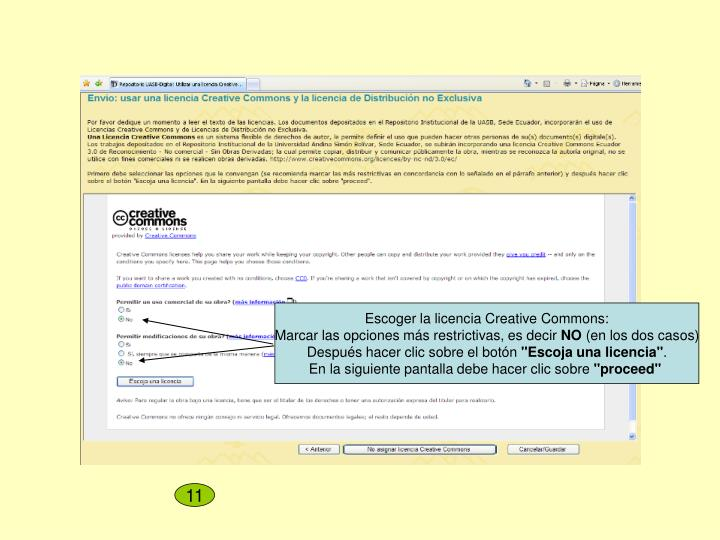 Escoger la licencia Creative Commons:
