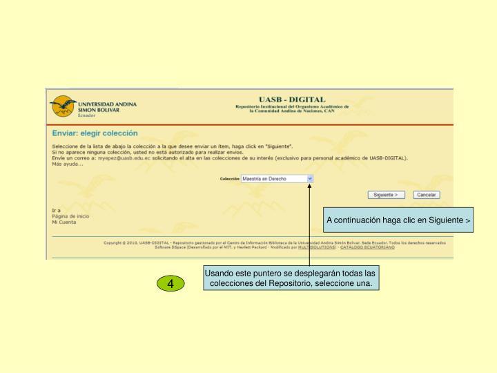 A continuación haga clic en Siguiente >