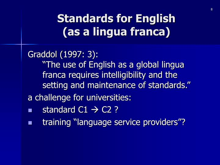 Standards for English