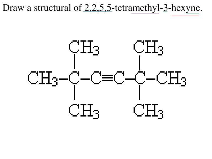 Draw a structural of 2,2,5,5-tetramethyl-3-hexyne.