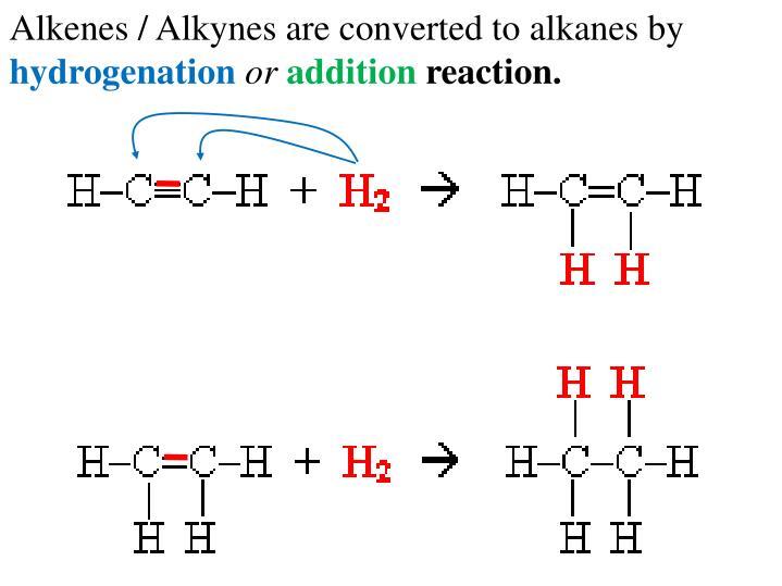 Alkenes / Alkynes are converted to alkanes by