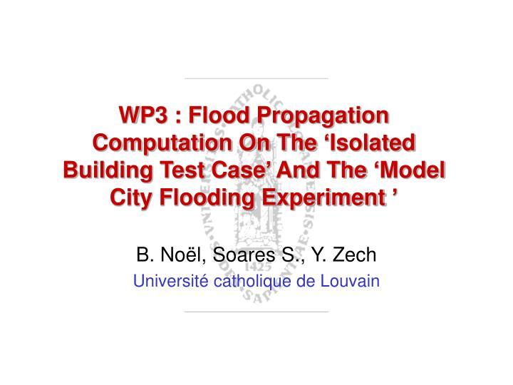 WP3 : Flood Propagation