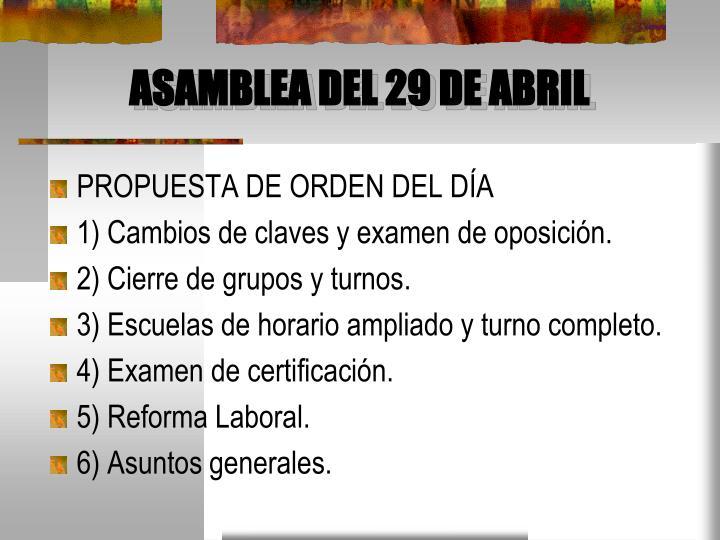 ASAMBLEA DEL 29 DE ABRIL