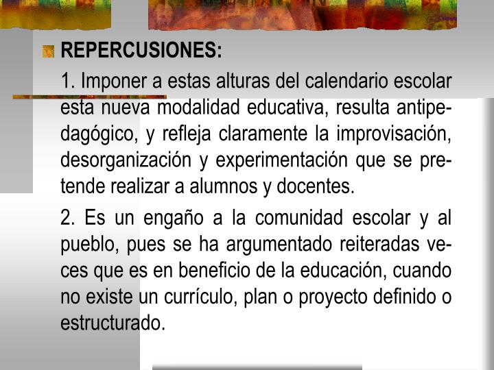 REPERCUSIONES: