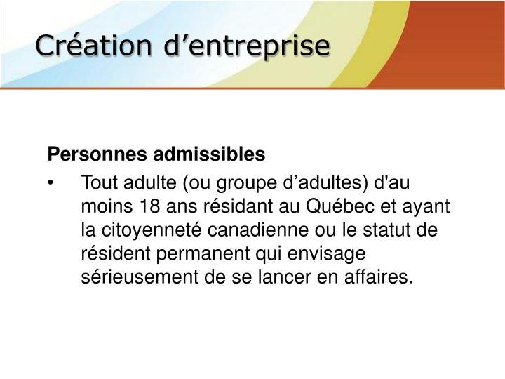 Personnes admissibles