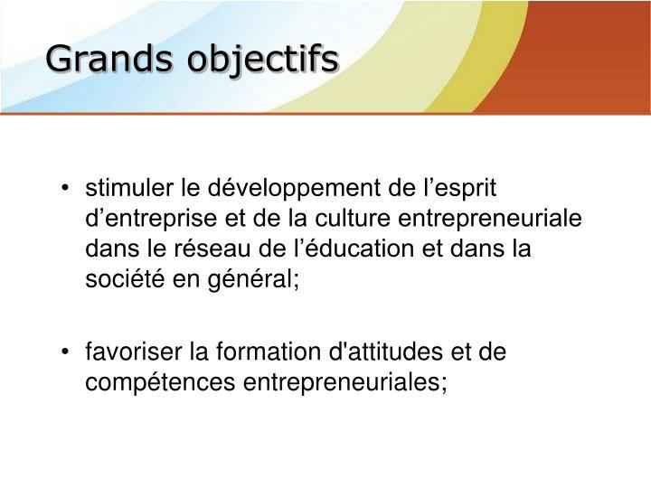 stimuler le développement de l'esprit d'entreprise et de la culture entrepreneuriale dans le réseau de l'éducation et dans la société en général;