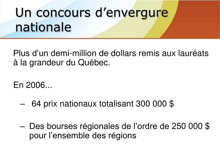 Plus d'un demi-million de dollars remis aux lauréats à la grandeur du Québec.