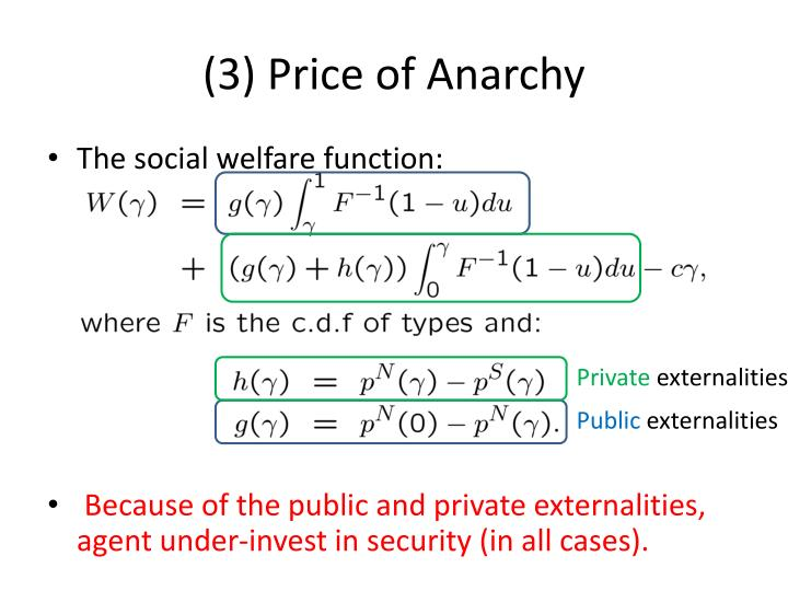 (3) Price of Anarchy