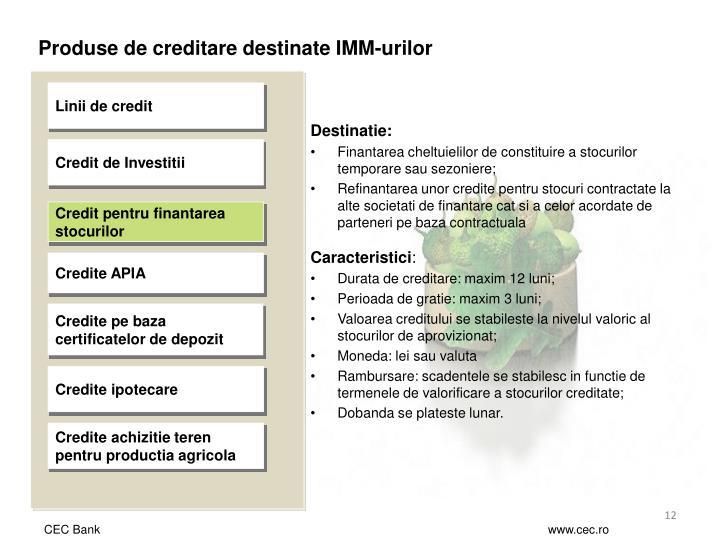 Produse de creditare destinate IMM-urilor