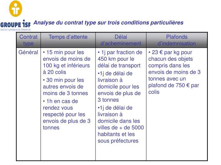 Analyse du contrat type sur trois conditions particulières