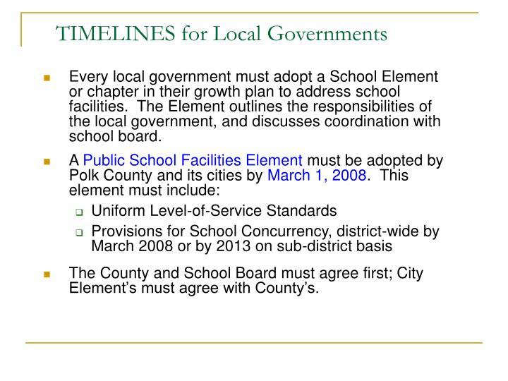 TIMELINES for Local Governments