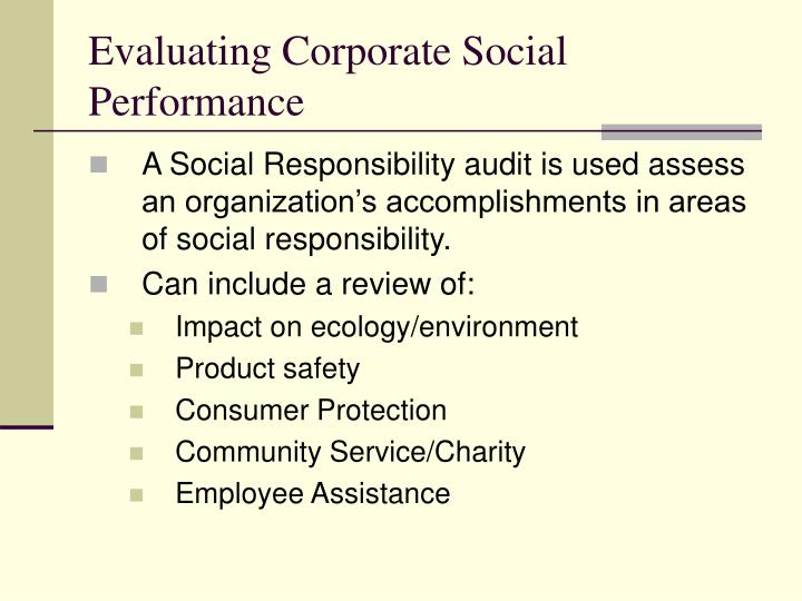 Evaluating Corporate Social Performance