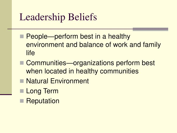Leadership Beliefs