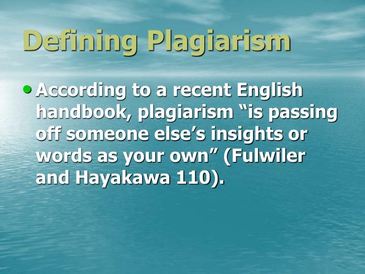 Defining Plagiarism