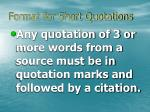 format for short quotations