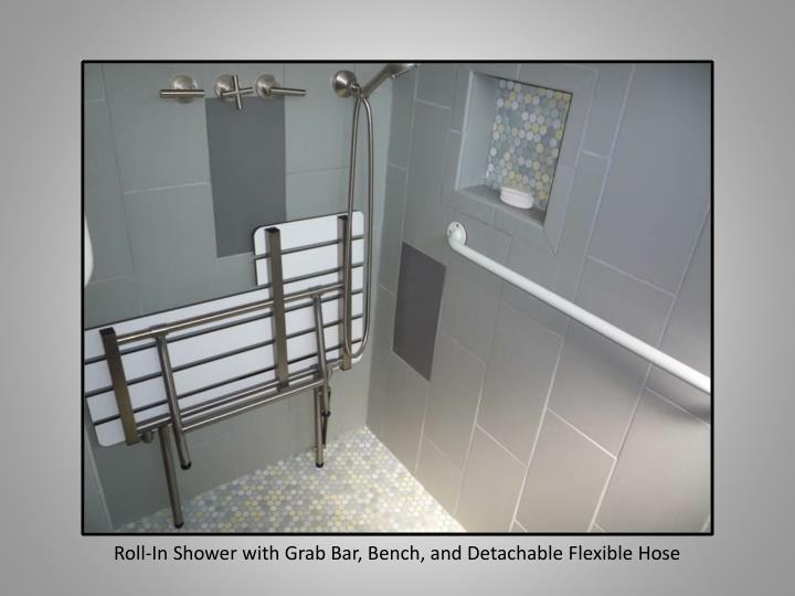 Roll-In Shower with Grab Bar, Bench, and Detachable Flexible Hose
