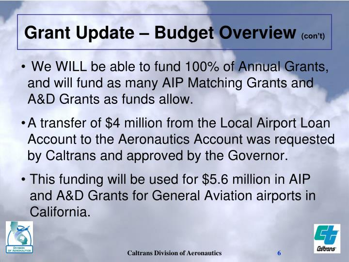 We WILL be able to fund 100% of Annual Grants, and will fund as many AIP Matching Grants and A&D Grants as funds allow.