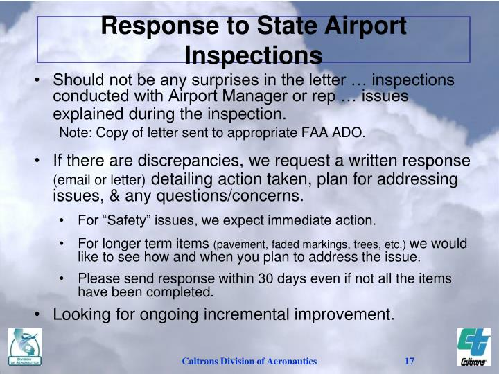 Response to State Airport Inspections