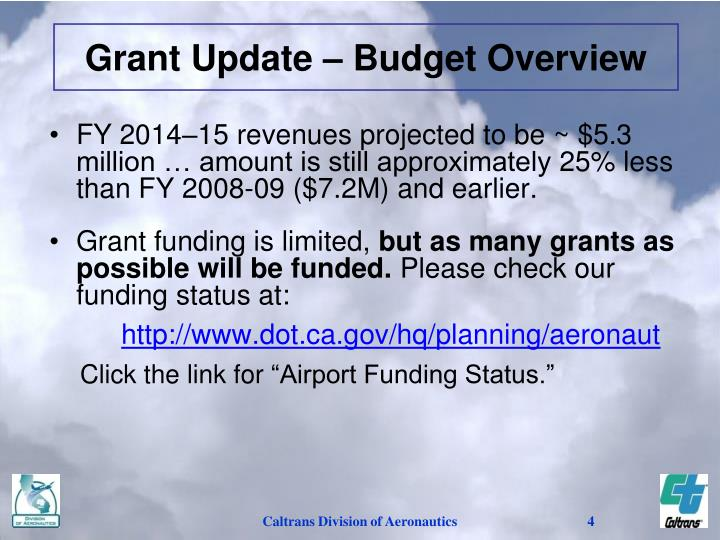 Grant Update – Budget Overview