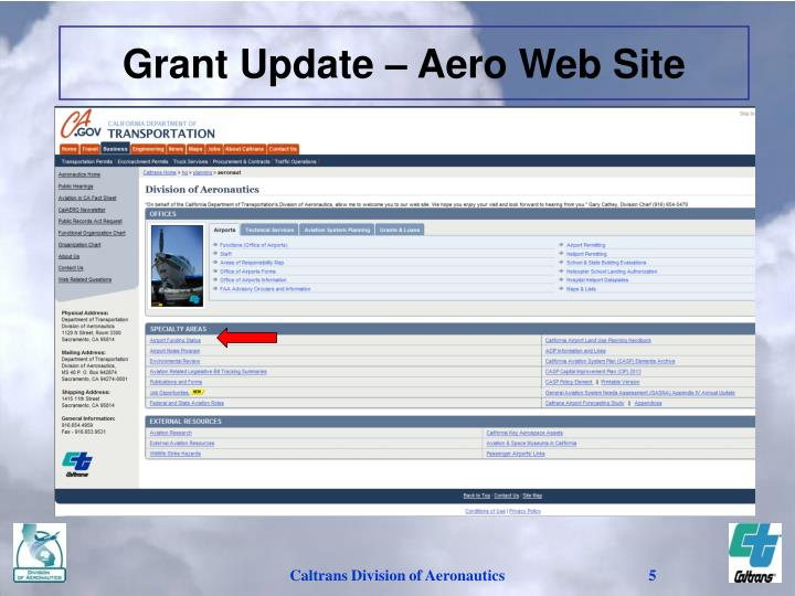 Grant Update – Aero Web Site