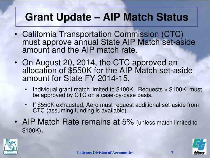 Grant Update – AIP Match Status