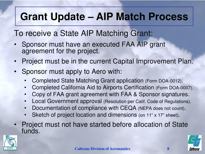 Grant Update – AIP Match Process