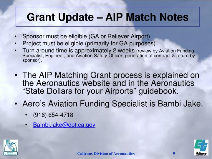 Grant Update – AIP Match Notes