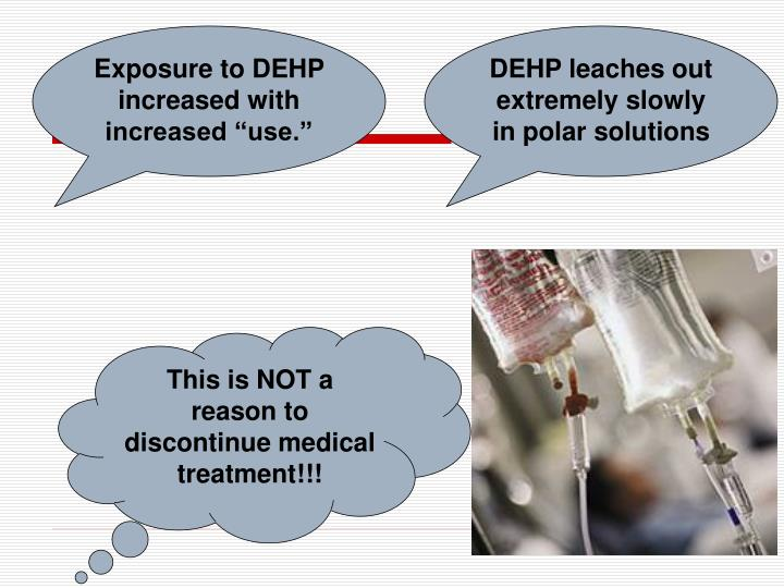 "Exposure to DEHP increased with increased ""use."""