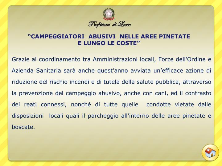 """""""CAMPEGGIATORI  ABUSIVI  NELLE AREE PINETATE"""