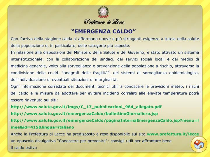"""""""EMERGENZA CALDO"""""""