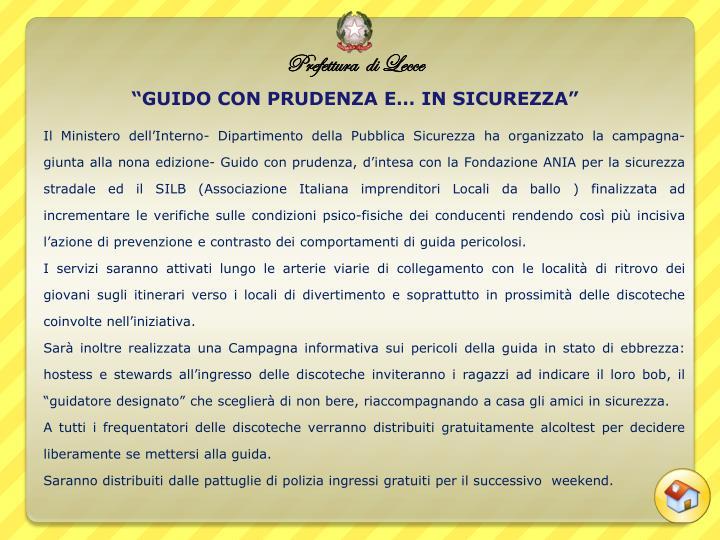 """""""GUIDO CON PRUDENZA E… IN SICUREZZA"""""""