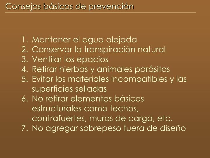 Consejos básicos de prevención