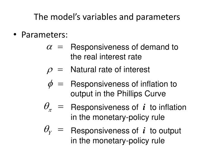 The model's variables and parameters