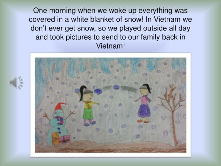 One morning when we woke up everything was covered in a white blanket of snow! In Vietnam we don't ever get snow, so we played outside all day and took pictures to send to our family back in Vietnam!