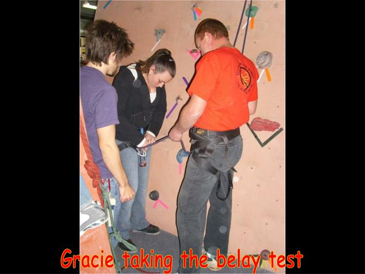 Gracie taking the belay test