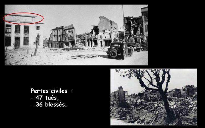 Pertes civiles :