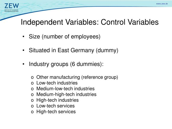 Independent Variables: Control Variables