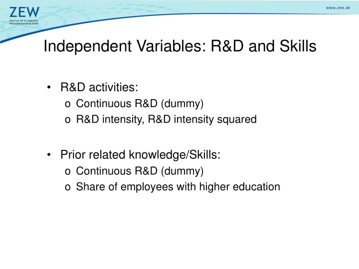 Independent Variables: R&D and Skills