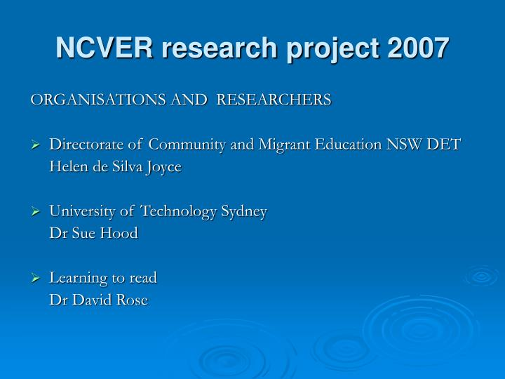 Ncver research project 2007