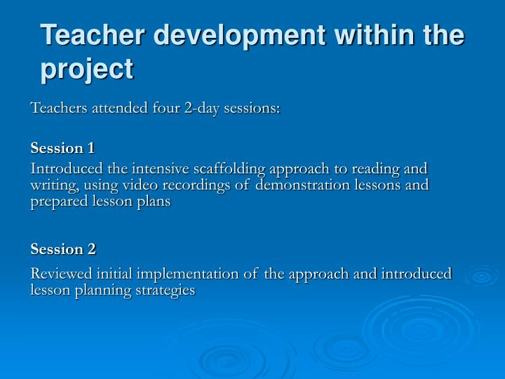 Teacher development within the project